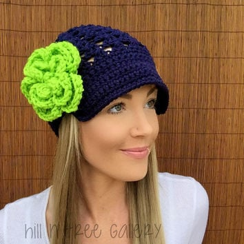 Seattle Seahawks Navy Blue Cap w/ Visor & Lime Green Detachable Flower Hawks Brim Crochet Football Accessory Hat Knit Accessories Beanie