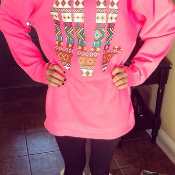 Sweatshirt with oversized initials or design on front aztec tribal heat transfer monogram