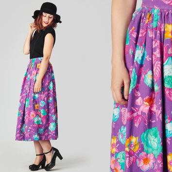 70s Neon Floral High Waisted Skirt / Purple Blue Pink Roses Circle Midi Skirt / Vivid Flowers Fitted Waist Cotton Skirt