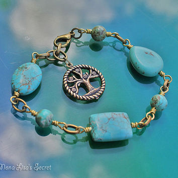 Gold Tree of Life Turquoise Bracelet, Turquoise Magnesite and Brass Bracelet, Turquoise and Gold Jewelry, Mothers Day Gift