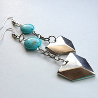 Geometric Arrow Earrings with Howlite by OliveTreeHandmade on Etsy