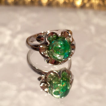 Vintage Judy Lee Mystic Green Glitter Ring Size 6 Adjustable Ring