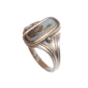 Georgian Dendritic Agate Rose Gold  Swivel Ring