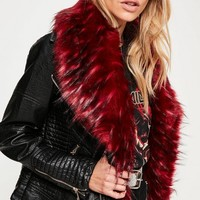 Missguided - Red Faux Fur Collar Faux Leather Jacket