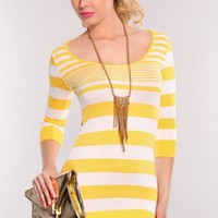Yellow White Quarter Sleeve Stripe Print Sweater Dress