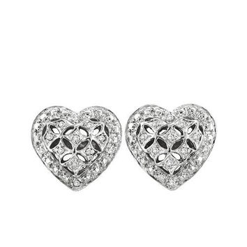 10KT Yellow Gold 0.12CTW ROUND DIAMOND LADIES HEART CLUSTER EARRINGS