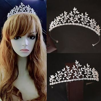 Elegance Full Zircon Tiara Crown Micro Pave Bridal Wedding Cosplay Hair Jewelry