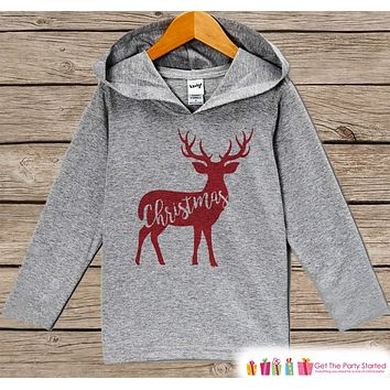 Reindeer Christmas Outfit - Kids Winter Top - Family Deer Outfit - Grey Christmas Hoodie - Kids Hoodie Pullover - Baby, Toddler, Youth
