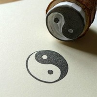 Hand Carved Chinese Taichi/Ying Yang Rubber Stamp