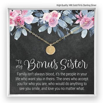 Bonus Sister Engraved Disc Necklace (FAMILY?SIS IN LAW)