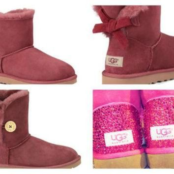 CREY1O Custom UGG Boots made with SwarovskI Bailey Button FREE: Shipping, Repair Kit, Cleanin