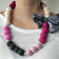 Statement Necklace / Upcycled jewelry / Natural Wool Beads / Felt Jewelry