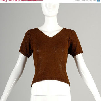 10% Off Vintage Brown Knit Short Sleeve Sweater Top Shirt V Neck Brown Thin Disco Small XS Petite