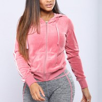 Easy Fit Velour Jacket - Begonia Pink
