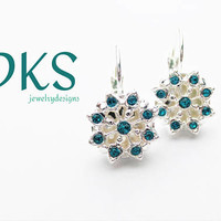 Swarovski 12mm Snowflake Lever Back Earrings, Blue Zircon, Drops, Holiday, Winter, Bridal, DKSJewelrydesigns, FREE SHIPPING