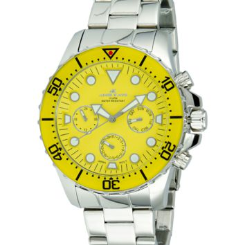 Adee Kaye AK2322-YEL Men's Watch Yellow Dial Multifunction Silver-Tone Stainless Steel