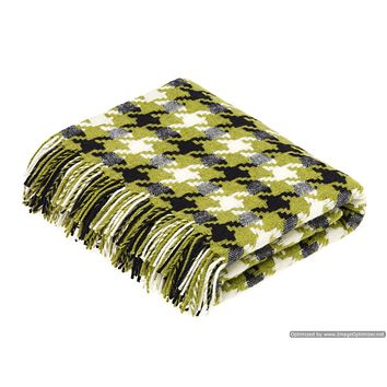 Merino Lambswool Throw Blanket - Houndstooth - Lime, Made in England