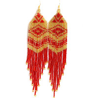 Extra Long Earrings. Gold and Red Earrings. Native American Earrings Inspired. Shoulder Duster Earrings. Beadwork