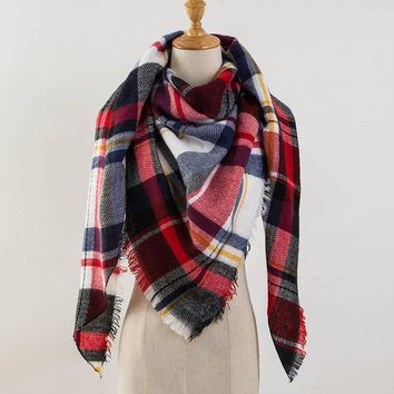 Za Winter Scarf 2017 Tartan Cashmere Scarf Women Plaid Blanket Scarf New Designer Acrylic Basic Shawls Women's Scarves and Wraps