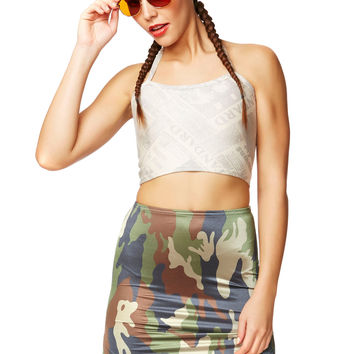 Army Brat Green Camo Mini Skirt