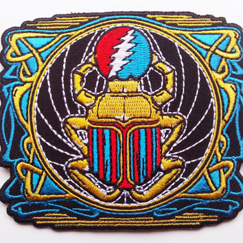 Grateful Dead embroidered patch - Franklin's Tower scarab - original artwork - not pin poster
