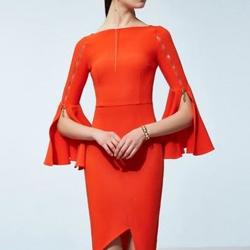 Boat Neck Bell Sleeve Zippered Women's Sheath Dress
