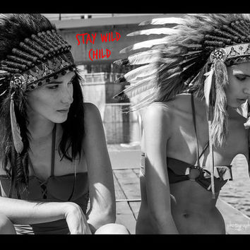 Small Length Chief Indian Headdress, Native American Headpiece, Rave Headdress, Tribal Hat, Native Pride, Costume