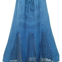 Vintage Indian Skirt Blue Embroidered Stonewashed Rayon Boho Gypsy Skirt for Womens