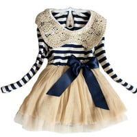 Kids Toddler Girls Party Long Sleeve Bow Lace Formal Dress Tulle Skirt