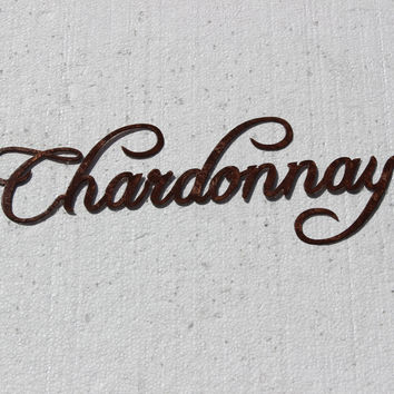Chardonnay Wine Word Antique Copper Powder Coated Metal Wall Art Home Decor Black