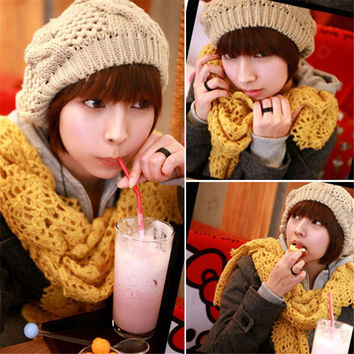 Warm Women Ladies Knitting Woolen Yarn Beret Braided Baggy Beanie Hat Ski Cap Female Skullies INY66