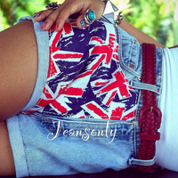 United Kingdom flag shorts Levis high waisted Union by Jeansonly