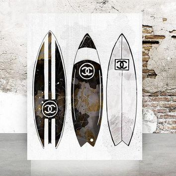 ONETOW Wall Art Poster Print - Surfboards COCO CHANEL, Shoes, Book, Handbag Vogue - Famous Fashion - Black Water Color- 678
