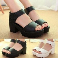 Pure color Women Open Toe Platform High Heel Gladiator Sandals Chunky Shoes
