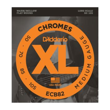 D'Addario ECB82 Chromes Flat Wound Bass Guitar Strings, Medium, 50-105, Long Scale