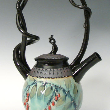 Basket Handled Teapot with Red Berries by Suzanne Crane: Ceramic Teapot | Artful Home
