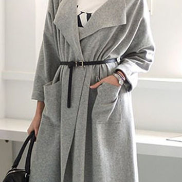 Gray Long Sleeve Pocket Design Cardigan
