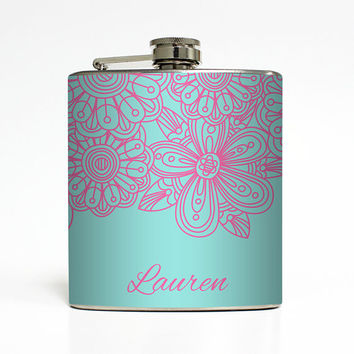 Custom Flask Personalized Floral Flower Tiffany Blue Custom Color 21st Birthday Women Gifts Stainless Steel 6 oz Liquor Hip Flask LC-1419