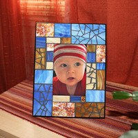 Blue Mosaic Picture Frame, Blue Stained Glass Picture Frame, Blue and Amber Photo Frame
