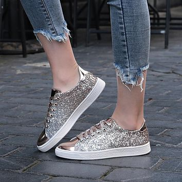 Womens Sneakers Casual Flat lace-Up Glitter Shining Shoes