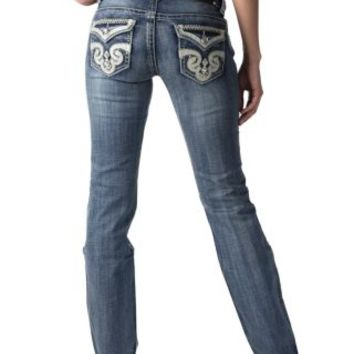 Wired Heart Women's Medium Wash with Pearl Swirl Flap Pocket Boot Cut Jean