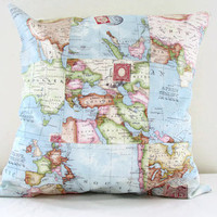 Patchwork map cushion cover, map print pillow cover, 40 cm 16 inch patchwork pillow, new home gift,  handmade in the UK