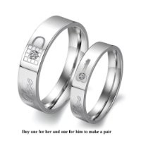 "Titanium Stainless Steel Lock and Key Engagement Anniversary Wedding Promise Ring Couple Wedding Band with Engraved ""Love"" Rhinestone Inlay, Ladies 5"