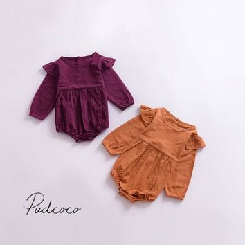 Butterfly Sleeve 2017 Solid Infant Toddler Baby Girl Kids Romper Outfits Jumpsuit
