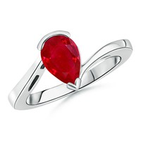 Solitaire Pear Ruby Bypass Ring