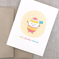 Cute Easter Card - Its Easter Time, Hope its Eggcellent - Kawaii Egg Card, Funny Easter Card, Recycled