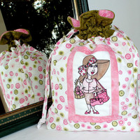 Drawstring bag - Quilted pouch - Lingerie bag - Project bag - Loralie On the mend - Breast Cancer Awareness - Breast Cancer Survivor