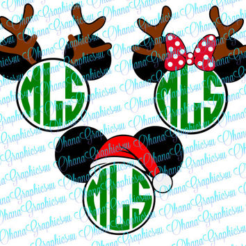 Mickey and Minnie Mouse Santa / Reindeer Monogram Combo SVG