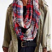 Shredded Plaid Eternity Scarf- Red Multi One