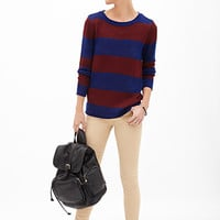 FOREVER 21 Rugby Striped Sweater Wine/Royal